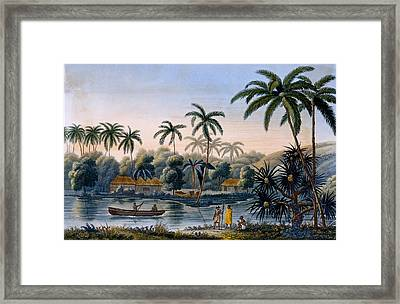 Part Of The Village Of Matavae, Coconut Framed Print