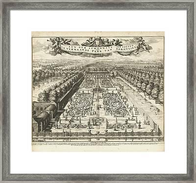 Parterre Garden At Zorgvliet, Johannes Jacobsz Van Den Framed Print by Johannes Jacobsz Van Den Aveele And Johannes Covens And Cornelis Mortier