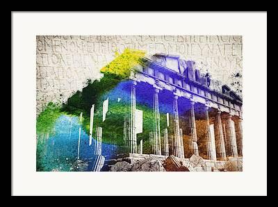 Zeus Mixed Media Framed Prints