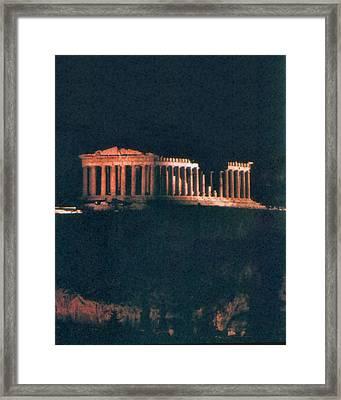 Parthenon At Night Framed Print