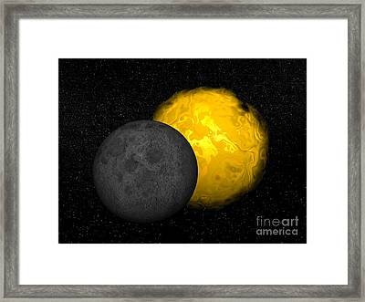 Partial Eclipse Of The Sun Framed Print by Elena Duvernay