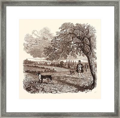 Partridge Shooting In September Framed Print by English School