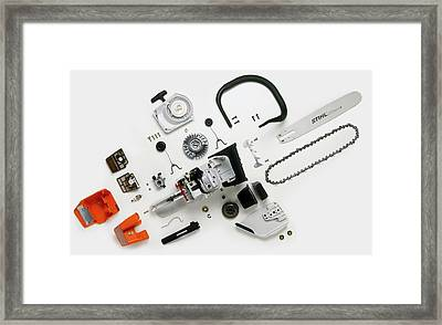 Parts Of A Chainsaw Framed Print by Dorling Kindersley/uig