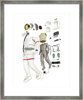Parts Of A Spacesuit Disassembled Framed Print by Dorling Kindersley/uig