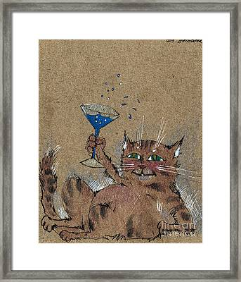 Party Cat Framed Print by Angel  Tarantella