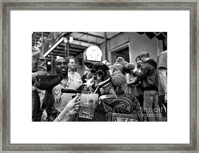 Party Dog On Bourbon Street Mono Framed Print