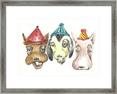 Party Dogs Framed Print by Donna Acheson-Juillet