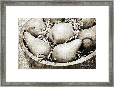 Party Pears Bw Framed Print by Andee Design