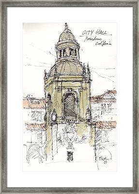 Framed Print featuring the mixed media Pasadena City Hall by Tim Oliver
