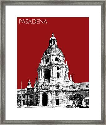 Pasadena Skyline - Dark Red Framed Print