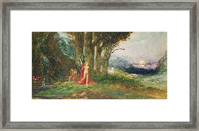 Pasiphae And The Bull, C.1876-80 Wc & Gouache On Paper Framed Print