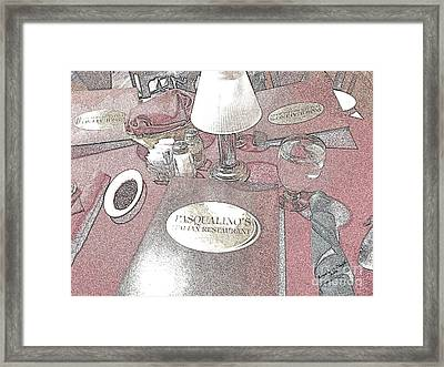 Framed Print featuring the digital art Pasqualino's Restaurant Setup by Angelia Hodges Clay