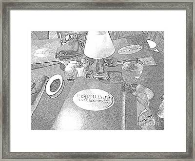Framed Print featuring the digital art Pasqualino's Resturant Setup by Angelia Hodges Clay