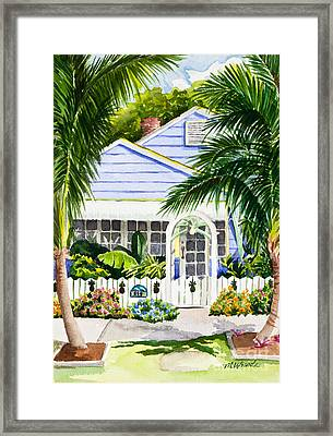 Pass-a-grille Cottage Watercolor Framed Print by Michelle Wiarda