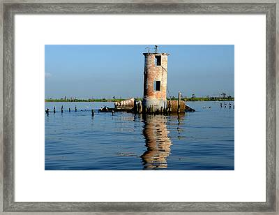 Framed Print featuring the photograph Pass Manchac Lighthouse by Charlotte Schafer