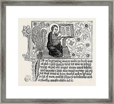 Passage From The First English Bible Gospel Of St Framed Print