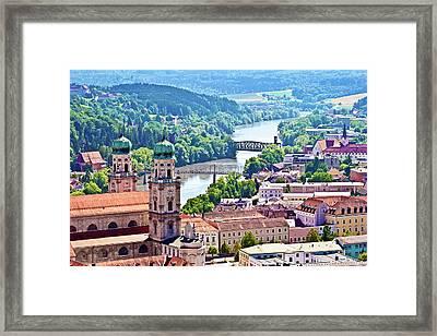 Passau, Bavaria, Germany, Aerial View Framed Print by Miva Stock