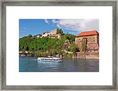 Passau, Germany, A Tourist Boat Sails Framed Print by Miva Stock