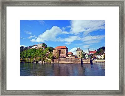 Passau, Germany, The Danube River Flows Framed Print by Miva Stock