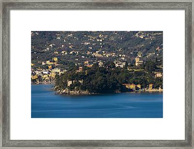 Rapallo And Pagana Coast Panorama Framed Print by Enrico Pelos