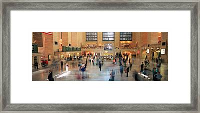 Passengers At A Railroad Station, Grand Framed Print