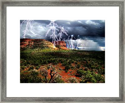Passing Storm Near Sedona Arizona Framed Print by Ric Soulen