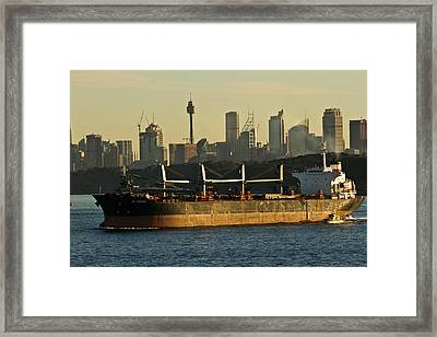 Framed Print featuring the photograph Passing Sydney In The Sunset by Miroslava Jurcik