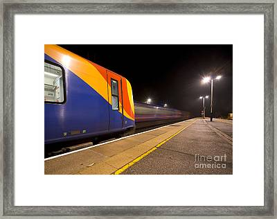 Passing Trains In The Night  Framed Print by Rob Hawkins