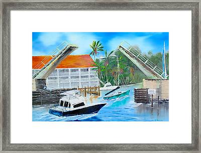 Passing Under The Bridge Framed Print