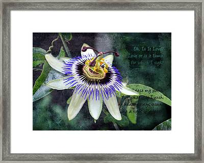 Framed Print featuring the digital art Passion Flower 1 by Helene U Taylor
