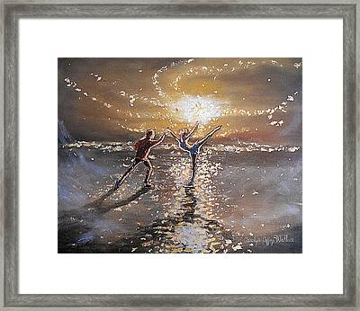Passion To Perform Ice Skaters Golden Moment Framed Print