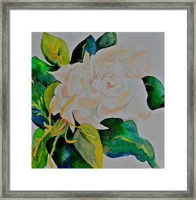 Framed Print featuring the painting Passionate Gardenia by Beverley Harper Tinsley