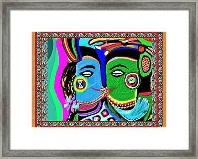 Passionate Kiss Kamasutra Khajuraho India Cave Style Art Navinjoshi Rights Managed Images Graphic De Framed Print