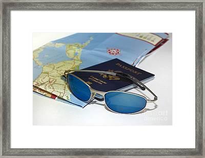 Passport Sunglasses And Map Framed Print