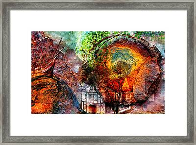 Framed Print featuring the mixed media Past Or Future? by Ally  White