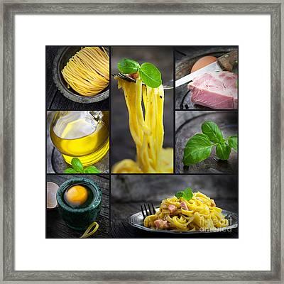Pasta Carbonara Collage Framed Print by Mythja  Photography