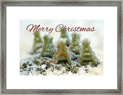 Pasta Christmas Trees With Text Framed Print by Iris Richardson