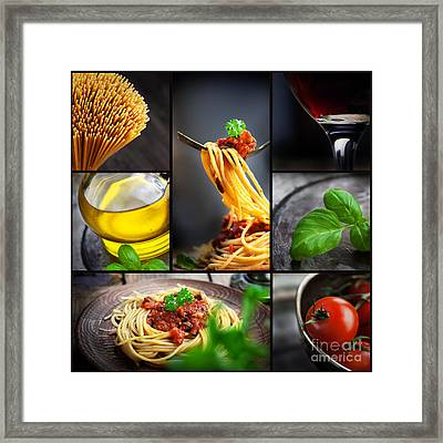 Pasta Collage Framed Print by Mythja  Photography