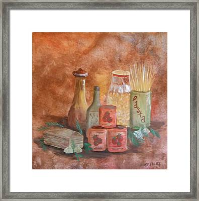 Pasta Containers Framed Print by Nora Niles