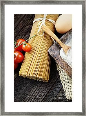 Pasta Ingredients Framed Print by Mythja  Photography