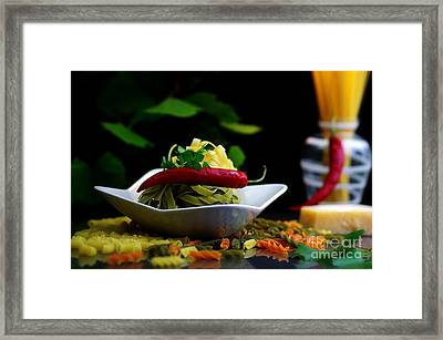 Pasta Italian Still Life For The Kitchen Framed Print by Tanja Riedel