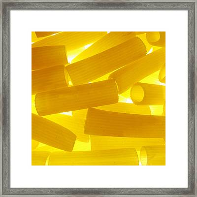 Pasta Rigatoni Yellow Transparent Macro Framed Print by Cindy Xiao