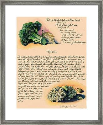 Pasta With Broccoli And Cauliflower Framed Print by Alessandra Andrisani