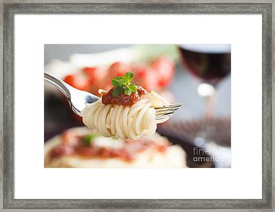 Pasta With Ingredients Framed Print by Mythja  Photography