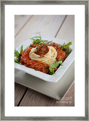 Pasta With Sauce Framed Print by Mythja  Photography