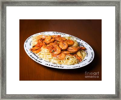 Pasta With Shrimps Framed Print by Sinisa Botas