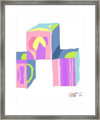 Pastel Cubes Framed Print by Anita Dale Livaditis