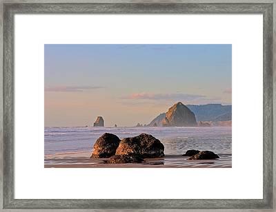 Pastel Haystack Rock Framed Print