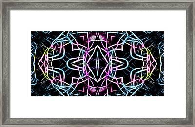 Pastel Kaleidoscope On Black  Framed Print by Gina Lee Manley