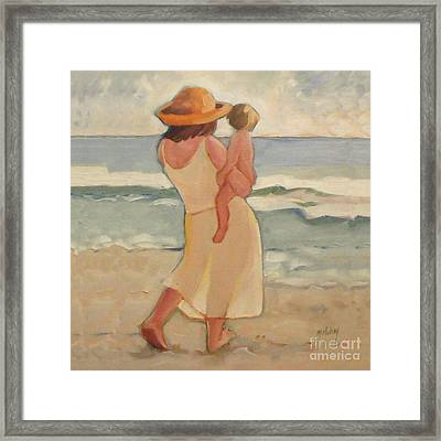 Pastel Morning Beach Walk With Mother And Baby Framed Print